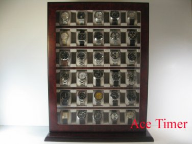 30 Watch Wooden Stand Wall Display Storage Case Fit up to 60mm + Polish Cloth