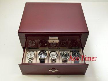 20 Watch Solid Top Rosewood Storage & Display Case Box + Free Polishing Cloth