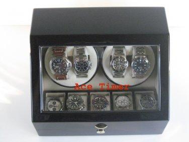 Quad (4) Automatic Watch Quality Winder Black Laquer + 5 storage (6 settings)