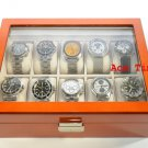 10 watch Glass Top Oak Storage Display Case Box + Free Polishing Cloth