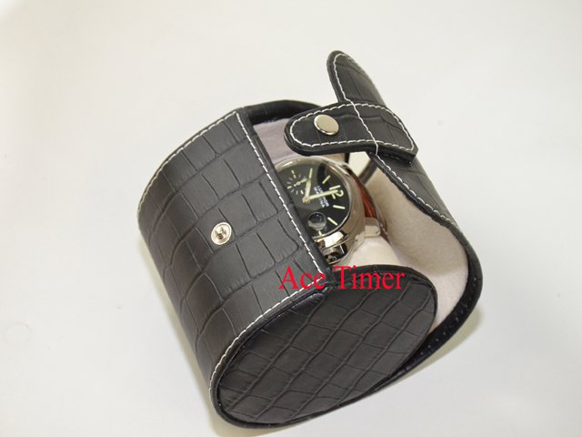 1 Watch Oval Black Genuine Leather with Alligator Grain Traveling Storage Case
