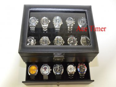 20-watch Glass Top Black Faux Leather Display Case Box + Free Polishing Cloth
