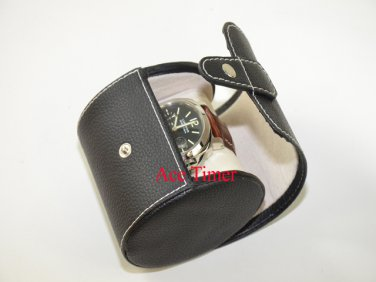 1 Watch Oval Black Genuine Leather Traveling Storage Case Box Fits Up to 70mm