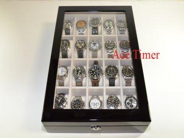20 Watch (Premium Series) 1 Level Black Lacquer Display Storage Case Box + Gift