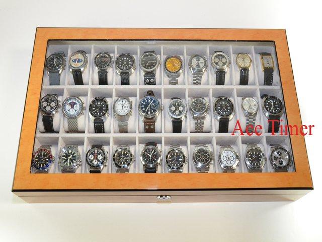 30 Watch (Premium Series) 1 Level Bird's Eyes Maple Display Case Box + Gift