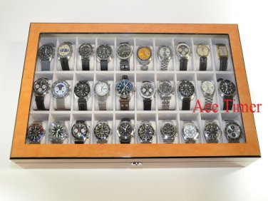 30 Watch (Premium Series) 1 Level Bird's Eyes Maple Display Case Box + Gift