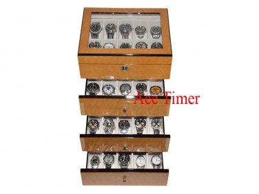 40 Watch (Premium Series) Bird's Eye Maple Storage Display Case Box + Cloth