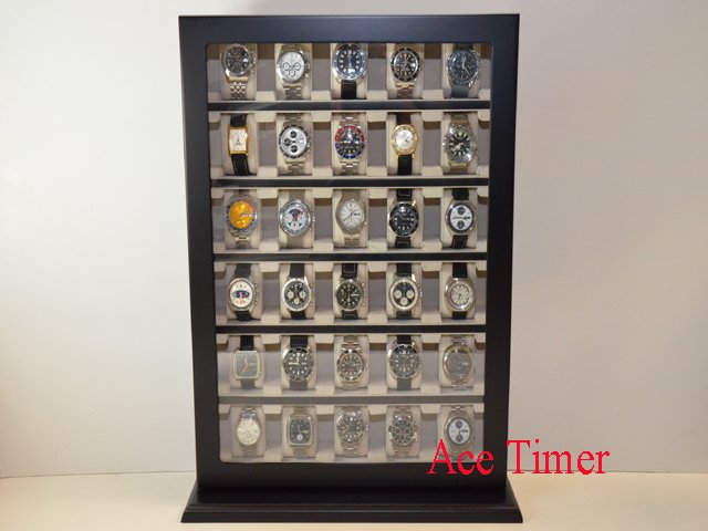 30 Watch Black Lacquer Stand Wall Display Storage Case Fit up to 60mm + Gift