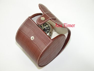 1 Watch Oval Brown Genuine Leather with Alligator Grain Traveling Storage Case