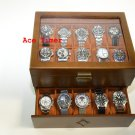 20-watch Glass Top Vintage Wood Finish Display Storage Case + Polishing Cloth