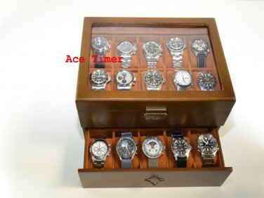 20-watch Glass Top Vintage Wood Finish Display Storage Case + Polishing Cloth