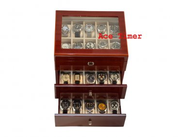 30 watch Glass Top High Gloss Mahogany II Display Storage Case Box + Cloth