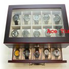 20 Watch Glass Top Ebony III Display & Storage Case Box Fits Up to Large 60mm