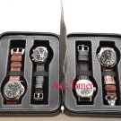 4 Watch Black Leatherette Zippered Traveling & Storage Case Box Fits Up to 60mm