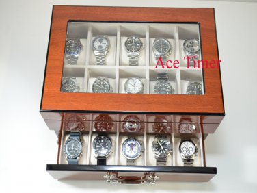 20 Watch Glass Top Mahogany Finish Display & Storage Case Box Fit Up to 60mm