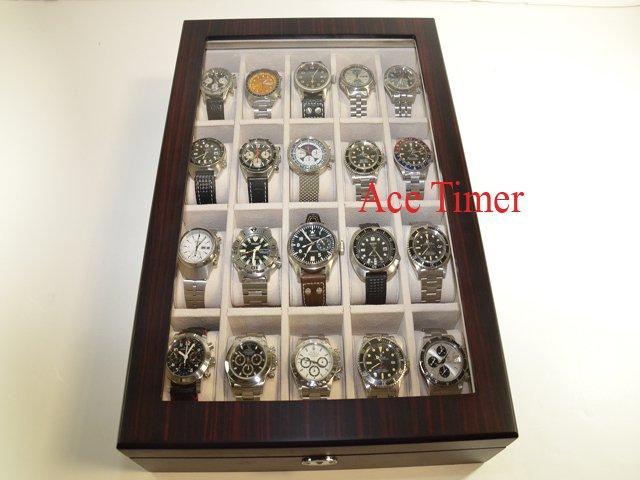 20 Watch (Premium Series) 1 Level Ebony Display & Storage Case Box + Gift