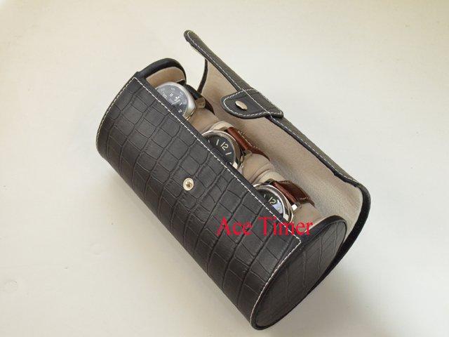 3 Watch Oval Black Genuine Leather w/ Alligator Grain Traveling Storage Case