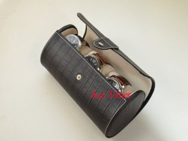 3 Watch Oval Black Genuine Leather w/ Alligator Grain Traveling Storage Case