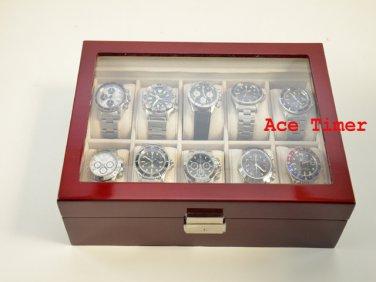 10 watch Glass Top Rosewood Display Storage Case Box + Free Polishing Cloth
