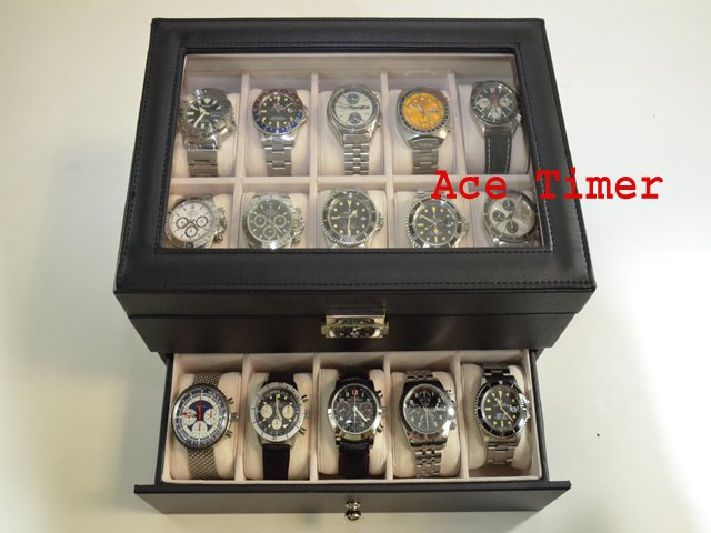 20-watches Glass Top Faux Leather Display Case Box + Cloth - Fit up to 52mm