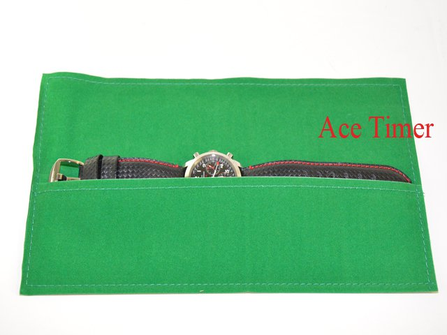 Pack of 3 x 1 Watch Green Velvet Long Pouch Case Fits up to 55mm