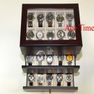 30 Watch (Premium Series) Glass Top Ebony Display Storage Case Box Polish Cloth