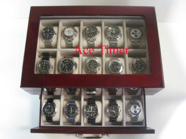 20 Watch Glass Top Rosewood Display Case Large Watches Up to 60mm INVICTA