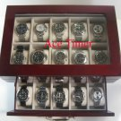 20 Watch Glass Top Rosewood Display Case Large Watches Up to 60mm + Free Cloth