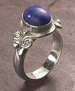 Sterling Silver Round Lapis Ring FREE SHIPPING