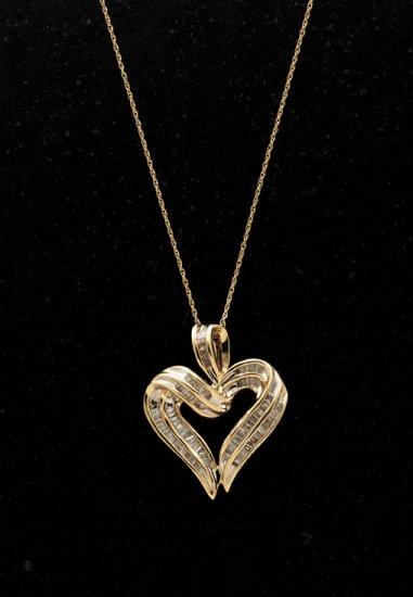 10kt Gold Baguette Diamond Pendant FREE SHIPPING