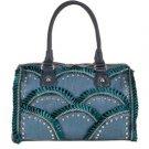 Blue Faux Leather Top Handle Bag