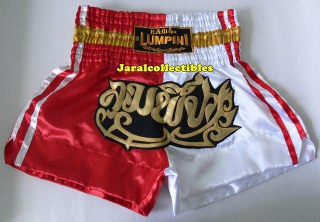 Muay Thai Kick Boxing MMA Shorts Gold Red White L Beautiful Style Gift Boxning