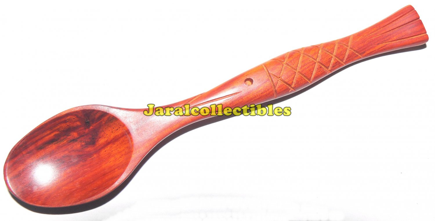 Cupping Spoon Teaspoon Coffee Fish Handmade Wood Home Boutique Decoration Art New