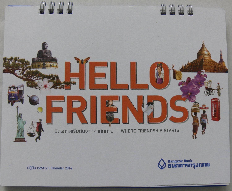 HELLO FRIENDS Desk Calendar 2014 Thailand Asia Pacific Kids Greeting Beauty Cute