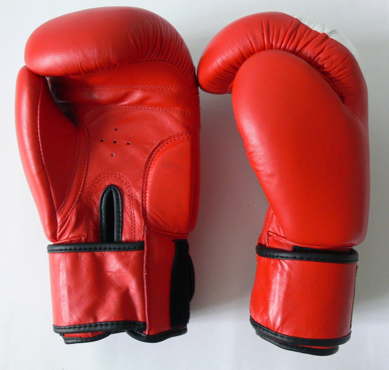 Boxing Gloves 12 oz MMA Fight UFC Red White Black Muay Thai Leather Velcro Strap K-1
