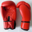 Boxing Gloves 12 oz MMA Fight UFC Red White Black Muay Thai Leather Velcro Strap K-1