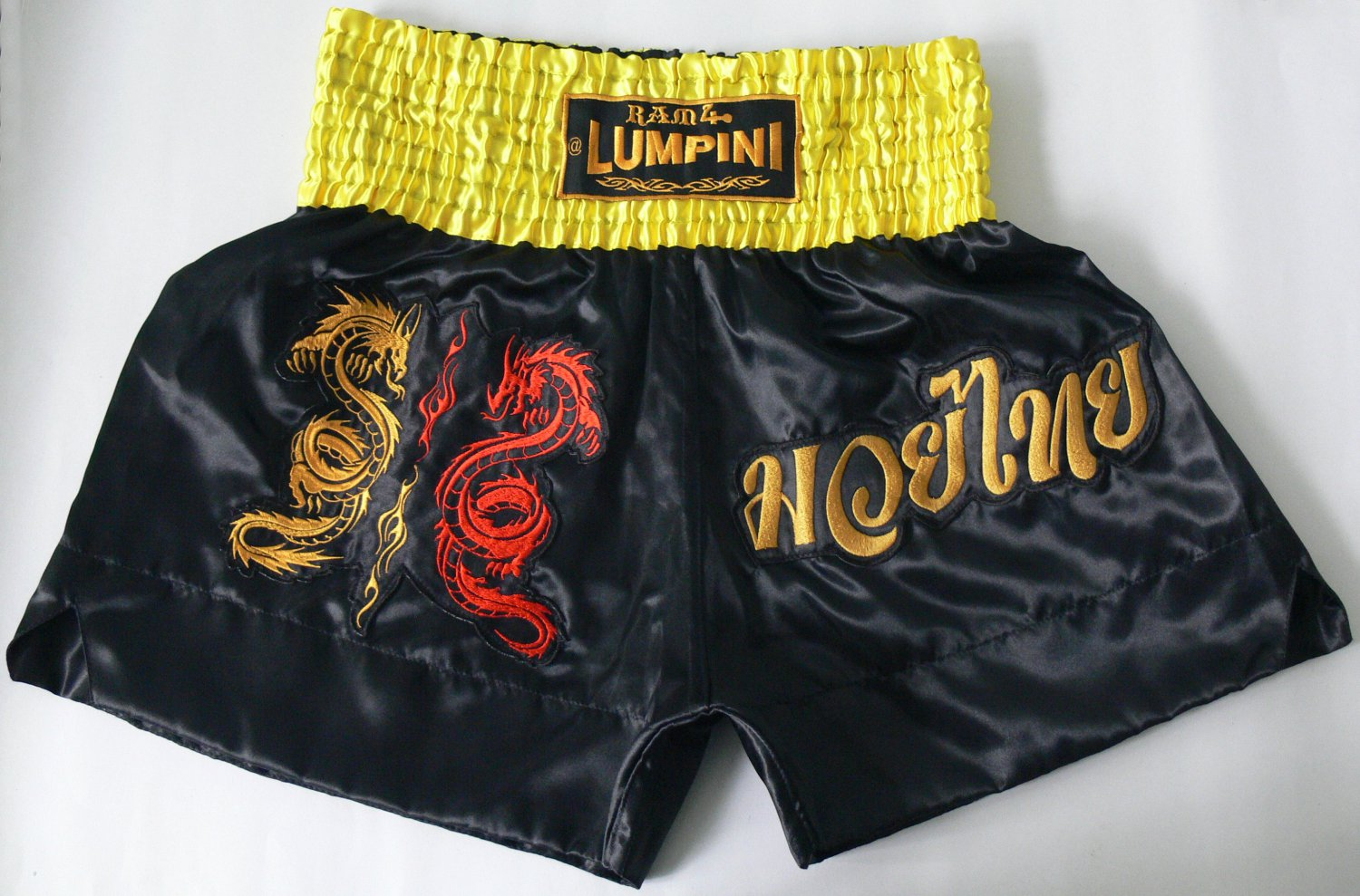 Muay Thai Kick Boxing MMA K1 Shorts Dragon Black Gold Red XL Yellow Soccer Sport