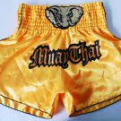 Muay Thai Kick Boxing MMA K1 Shorts Fight Elephant Black Yellow Gold L Soccer Football Style