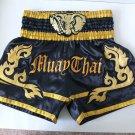 Muay Thai Kick Boxing MMA Shorts Gold Elephant Head Design Satin Black XL K1 NEW