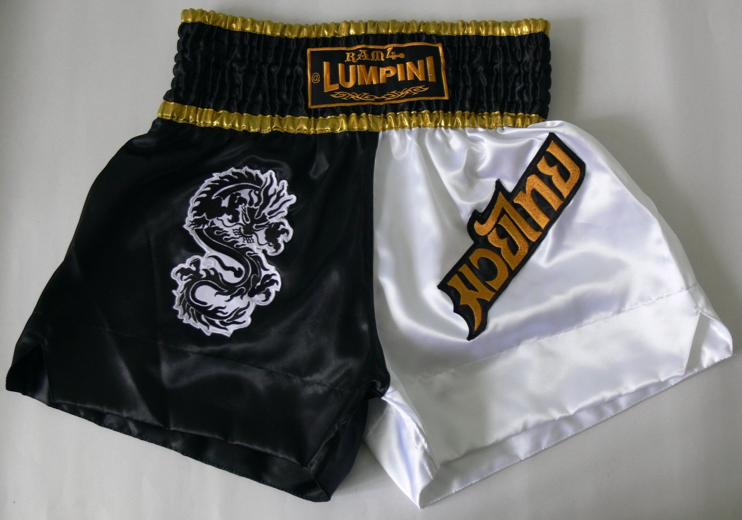Muay Thai Kick Boxing MMA K1 Shorts Dragon Black White Gold XL Boxen Popular Box