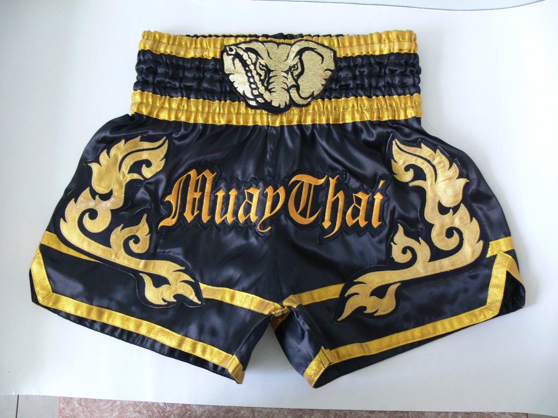 Muay Thai Kick Boxing MMA Shorts K1 Gold Elephant Head Design Black L Gift NEW UFC