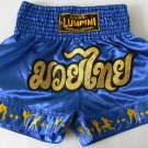 Muay Thai Kick Boxing MMA Shorts Action Satin Star Gold Blue XL Martial Art Gift