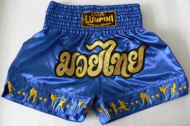 Muay Thai Kick Boxing MMA Shorts Action Satin Star Gold Blue XL Martial Art Gift