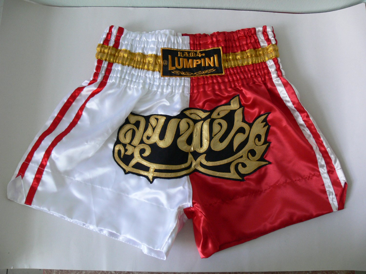 Muay Thai Kick Boxing MMA Shorts Red White 2 Tone Gold Black XL Design Satin