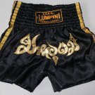 Muay Thai Kick Boxing MMA Shorts Gold SAK YAN Invulnerable Ma Ha Ud Black L Gift