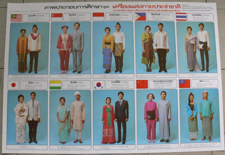 Asia National Costume China Japan Korea India Myanmar Thai Indonesia Phil Poster & Asia National Costume China Japan Korea India Myanmar Thai Indonesia Phil Poster