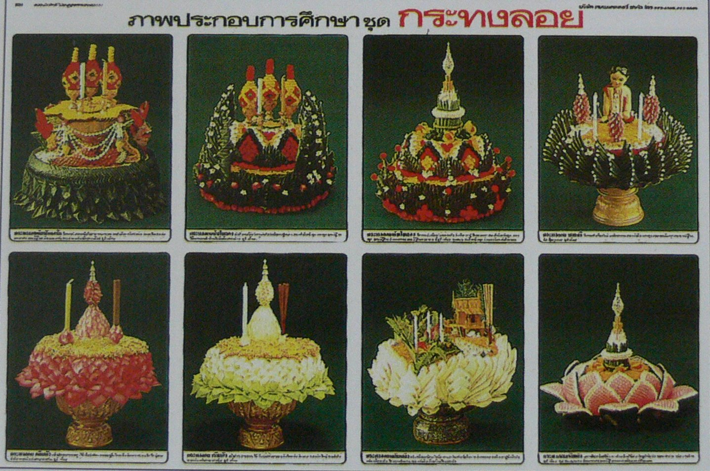 Thai Traditional Style Floating Basket Poster Banana Leaf Candle Incense Garland