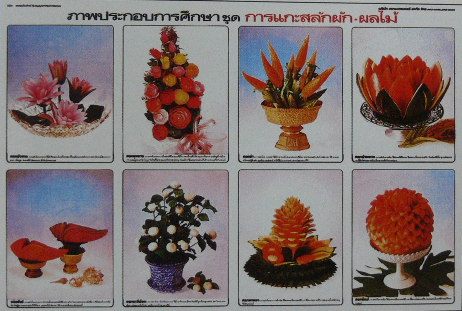 Thai Traditional Style Flower Fruit Carve Collection Poster Water Melon Rose Jasmine