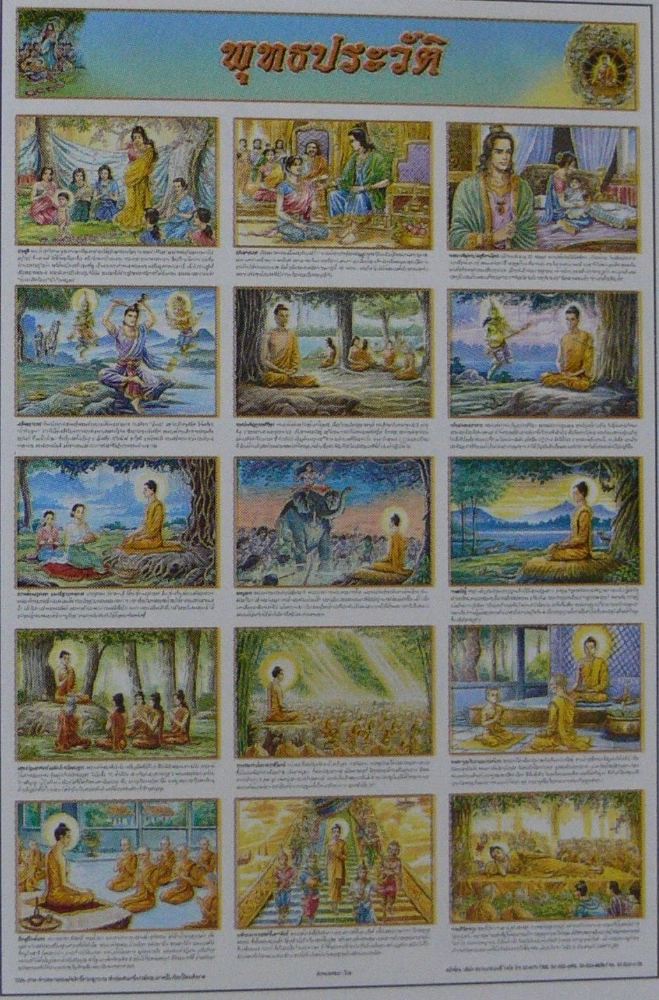 Buddha Chronology Buddhism History Education Poster Collection Gift Meditation