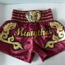 Muay Thai Kick Boxing MMA Shorts Gold Elephant Head Design Satin Crimson XL Gift